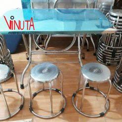 bàn ghế chân tròn inox