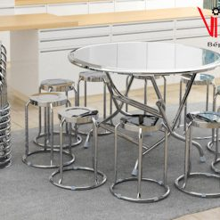 bàn ghế inox tròn gia đình
