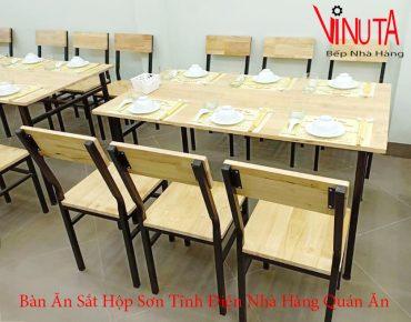 bàn ăn sắt hộp sơn tĩnh điện nhà hàng quán ăn