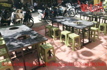 bộ bàn ăn mặt bàn bằng đá dùng cho nhà hàng lẩu nướng bbq buffet
