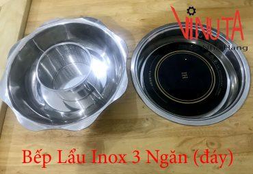bếp lẩu inox 3 ngăn đáy