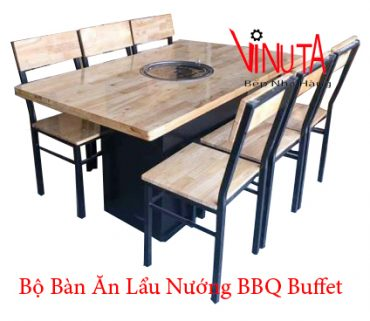 bộ bàn ăn lẩu nướng bbq buffet
