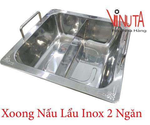 xoong nấu lẩu inox 2 ngăn