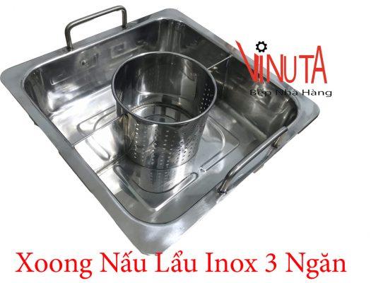 xoong nấu lẩu inox 3 ngăn