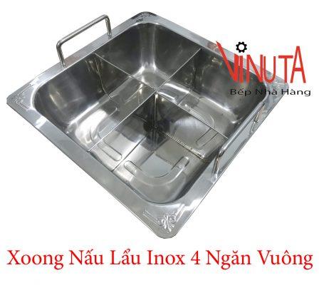 xoong nấu lẩu inox 4 ngăn vuông ở đồng nai