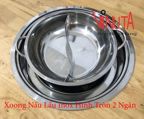 xoong nấu lẩu inox hình tròn 2 ngăn