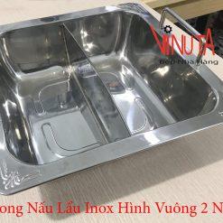 xoong nấu lẩu inox hình vuông 2 ngăn