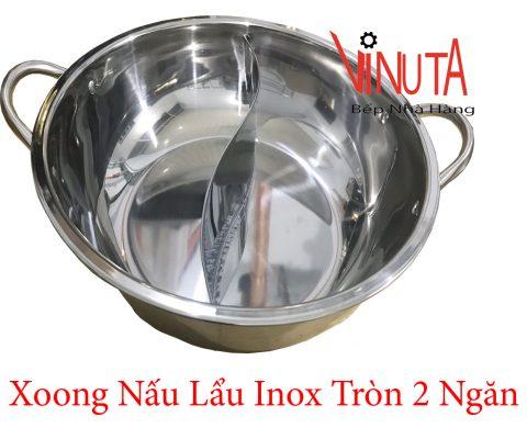 xoong nấu lẩu inox tròn 2 ngăn