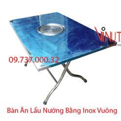 bàn ăn lẩu nướng bằng inox hình vuông