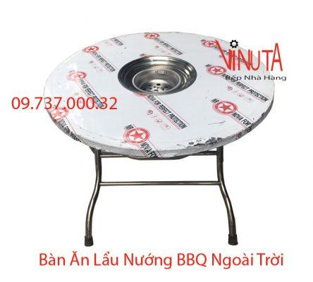 bàn ăn lẩu nướng bbq bằng inox hình tròn ngoài trời