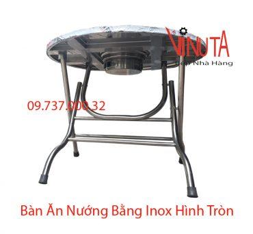 bàn ăn nướng bằng inox hình tròn