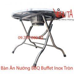 bàn ăn nướng bbq buffet inox tròn