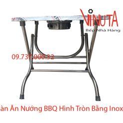 bàn ăn nướng bbq hình tròn bằng inox