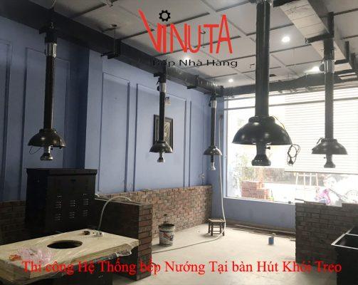 thi công hệ thống bếp nướng tại bàn hút khói treo