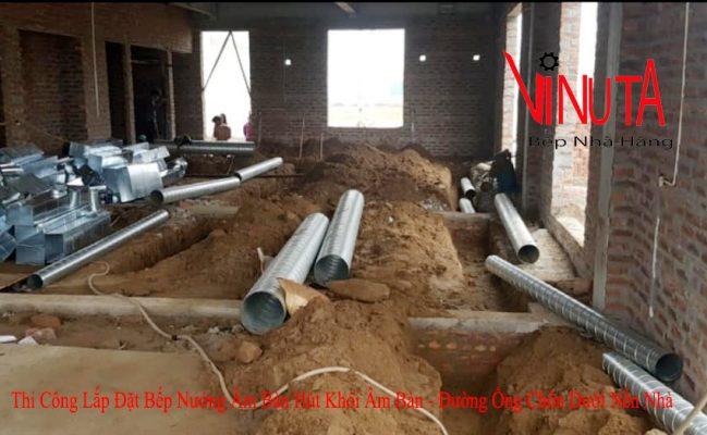thi công lắp đặt bếp nướng âm bàn hút khói âm bàn đường ống chôn dưới nền nhà