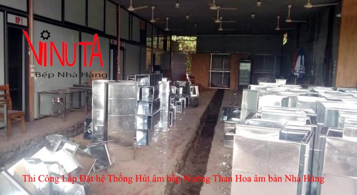 thi công lắp đặt hệ thống hút khói âm bếp nướng than hoa âm bàn nhà hàng