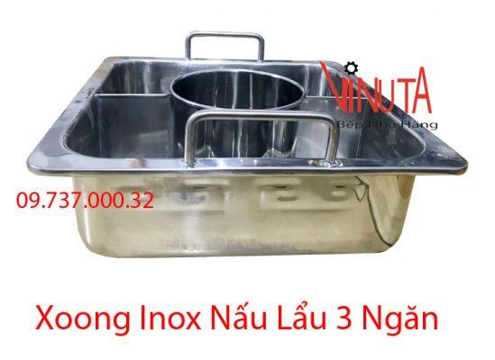xoong inox nấu lẩu 3 ngăn
