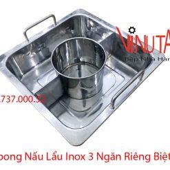 xoong nấu lẩu inox 3 ngăn riêng biệt