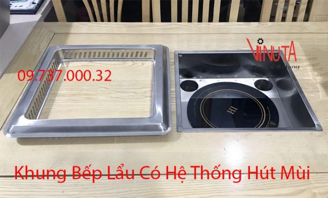 khung bếp lẩu có hệ thống hút mùi