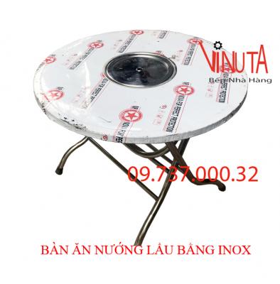 bàn ăn nướng lẩu bằng inox