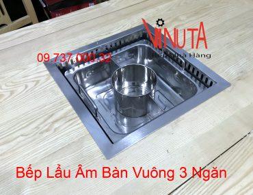 bếp lẩu âm bàn vuông 3 ngăn