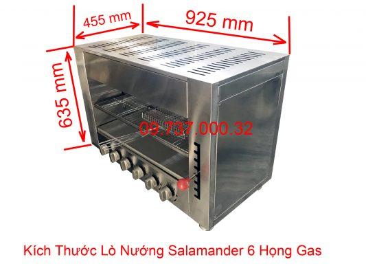 kích thước lò nướng salamander 6 họng gas