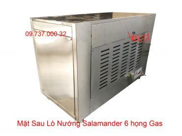 mặt sau lò nướng salamander 6 họng gas