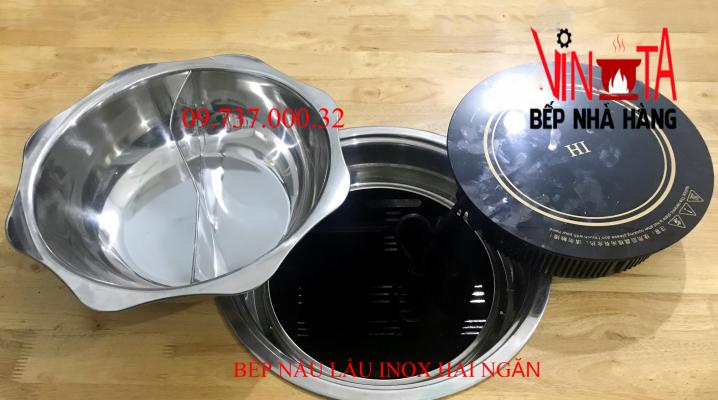 bếp nấu lẩu inox hai ngăn