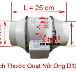 kích thước quạt nối ống D125