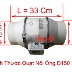 kích thước quạt nối ống d150 mm