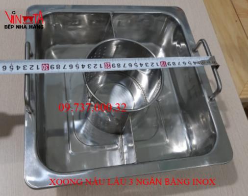 xoong nấu lẩu 3 ngăn bằng inox